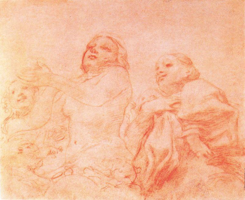 Eve and other figures, Drawing by Antonio Allegri Da Correggio (1489-1534, Italy)