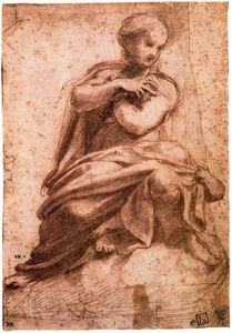 Antonio Allegri Da Correggio - Madonna seated on clouds with putto