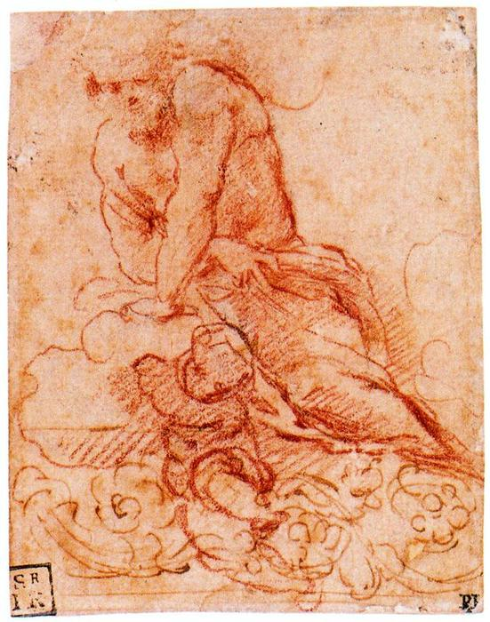 Male figure on clouds, with putto and decorative frieze by Antonio Allegri Da Correggio (1489-1534, Italy) | WahooArt.com