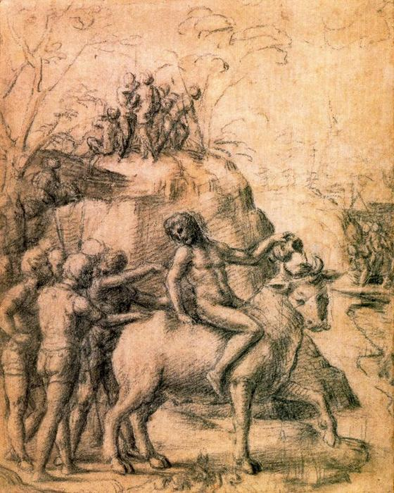 Mythological subject, Drawing by Antonio Allegri Da Correggio (1489-1534, Italy)