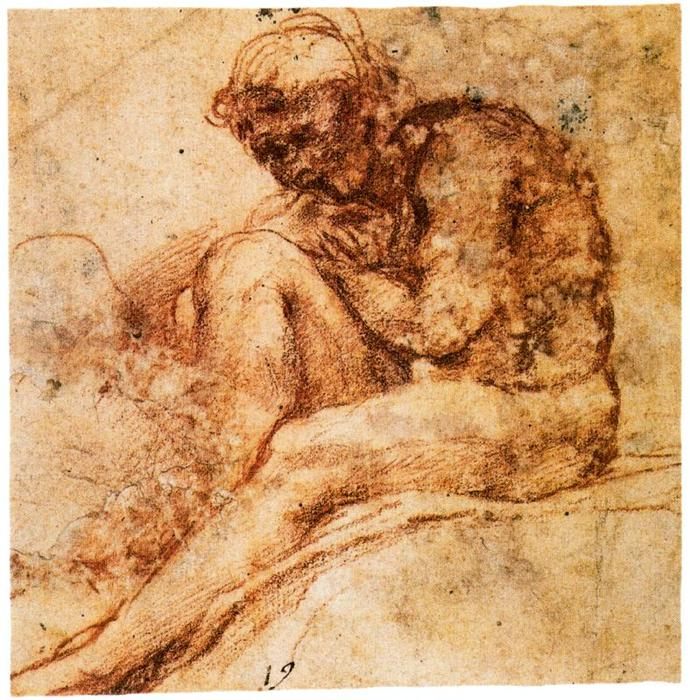 Nude seated in left profile by Antonio Allegri Da Correggio (1489-1534, Italy) | Oil Painting | WahooArt.com