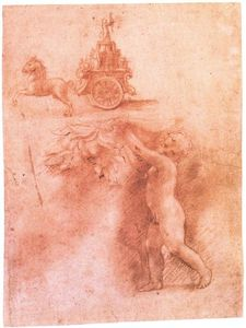Antonio Allegri Da Correggio - Putto with garland and love trumphant