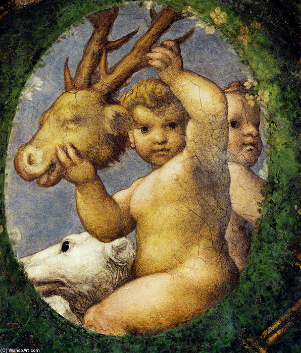 Putto With Hunting Trophy by Antonio Allegri Da Correggio (1489-1534, Italy) | Painting Copy | WahooArt.com