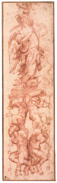 Study for a decoration of grotesques, Drawing by Antonio Allegri Da Correggio (1489-1534, Italy)