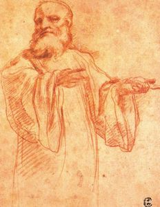 Antonio Allegri Da Correggio - Study for the figure of Saint Benedict