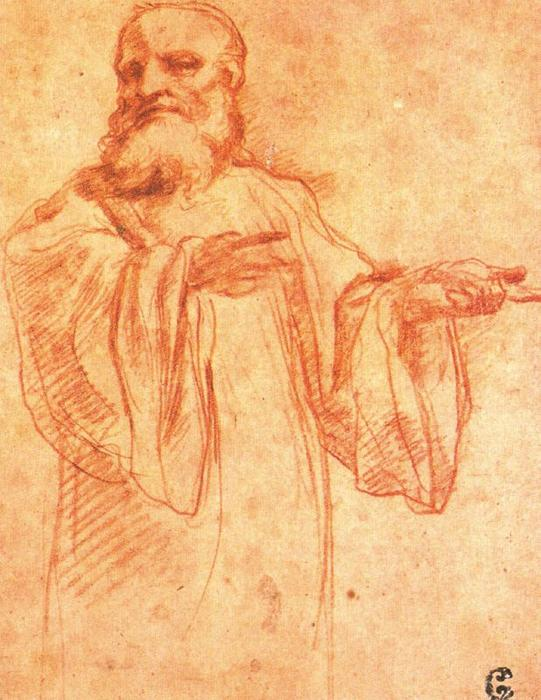 Study for the figure of Saint Benedict, Drawing by Antonio Allegri Da Correggio (1489-1534, Italy)