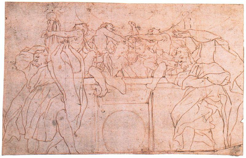 Study for the parapet of the dome of Parma Cathedral, Drawing by Antonio Allegri Da Correggio (1489-1534, Italy)
