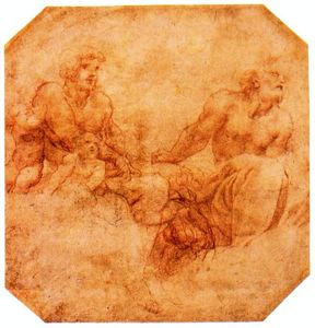 Antonio Allegri Da Correggio - Study for two apostles with putti