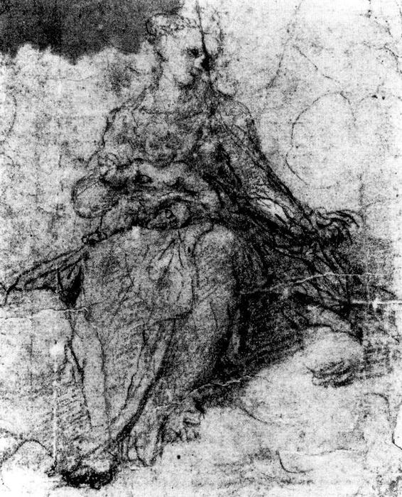 Virgin and Child, Drawing by Antonio Allegri Da Correggio (1489-1534, Italy)