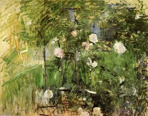 Berthe Morisot - A Corner of the Rose Garden - (oil painting reproductions)