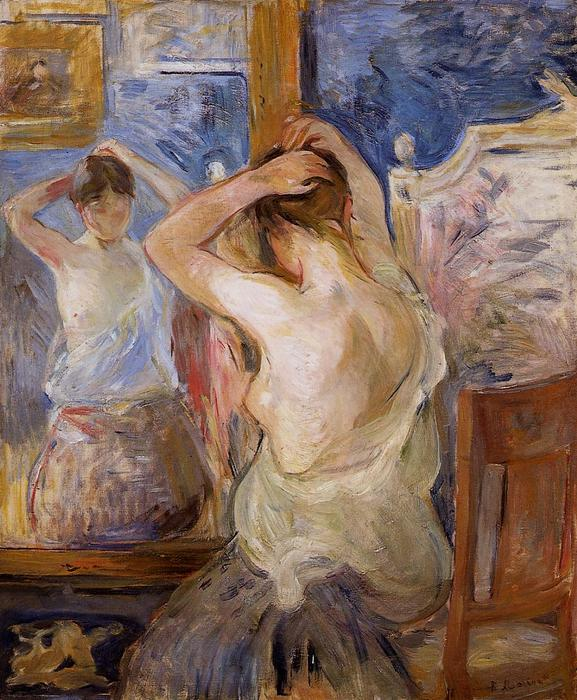 Before the Mirror, 1890 by Berthe Morisot (1841-1895, France) | Art Reproduction | WahooArt.com