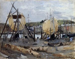 Berthe Morisot - Boats under Construction