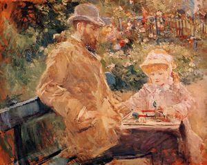 Berthe Morisot - Eugene Manet and His Daughter at Bougival
