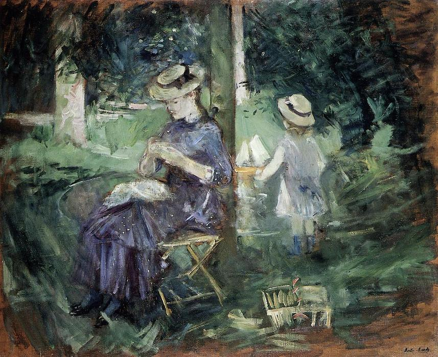 Girl Sewing in a Garden, 1884 by Berthe Morisot (1841-1895, France) | Museum Quality Reproductions | WahooArt.com