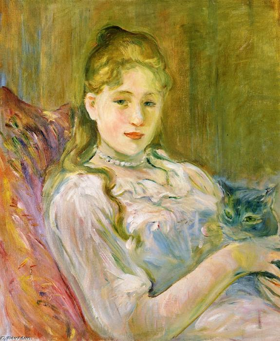 Girl with Cat, 1892 by Berthe Morisot (1841-1895, France) | Art Reproduction | WahooArt.com