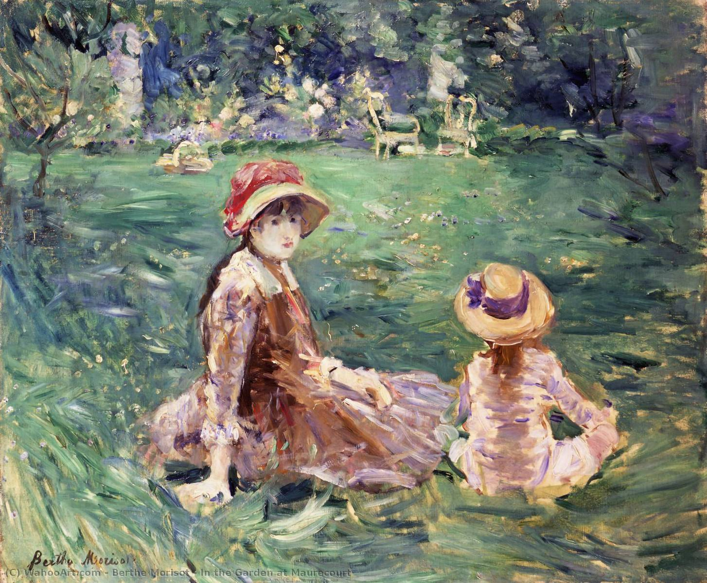 In the Garden at Maurecourt, 1884 by Berthe Morisot (1841-1895, France) | Museum Quality Reproductions | WahooArt.com