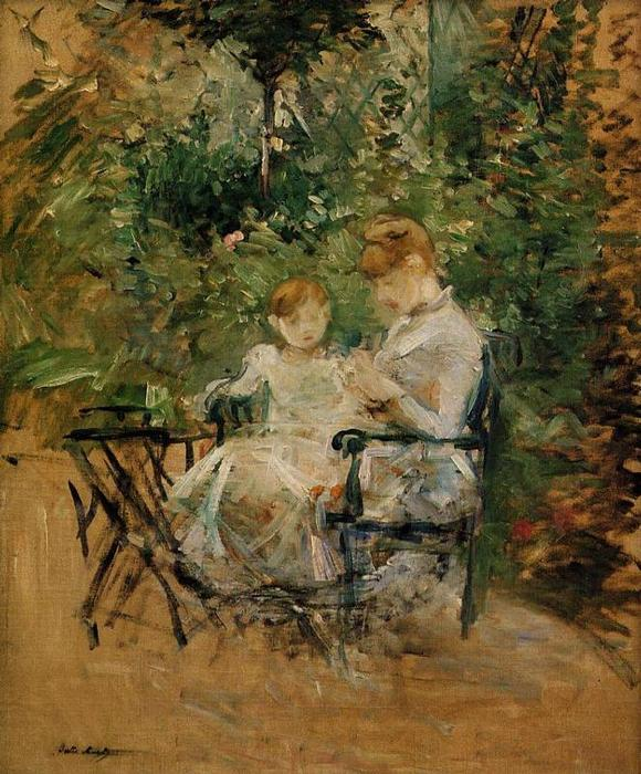 In the Garden, 1885 by Berthe Morisot (1841-1895, France) | Art Reproduction | WahooArt.com