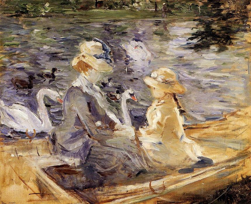 On the Lake in the Bois de Boulogne, 1884 by Berthe Morisot (1841-1895, France) | Art Reproductions Berthe Morisot | WahooArt.com