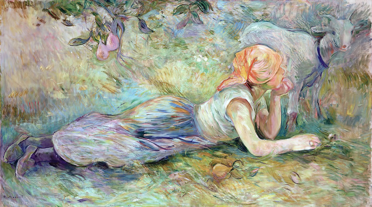 Shepherdess Laying Down 1 by Berthe Morisot (1841-1895, France) | Museum Quality Reproductions | WahooArt.com