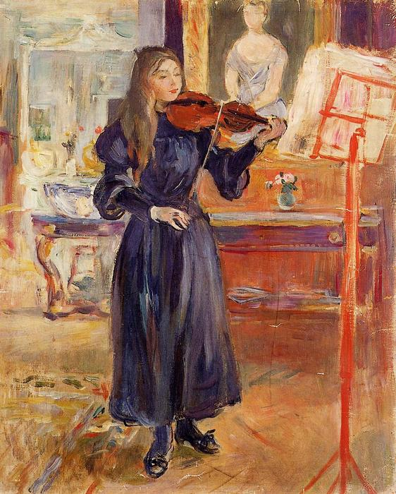 Studying the Violin, 1893 by Berthe Morisot (1841-1895, France) | Museum Quality Reproductions | WahooArt.com