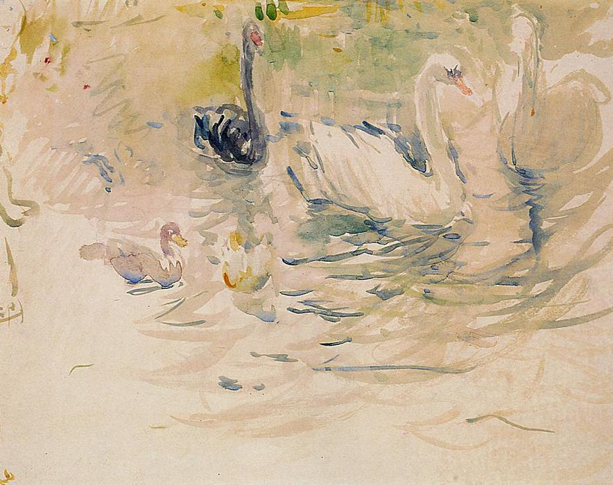 Swans, Watercolour by Berthe Morisot (1841-1895, France)