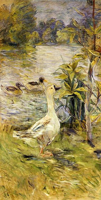 The Goose, Oil On Canvas by Berthe Morisot (1841-1895, France)