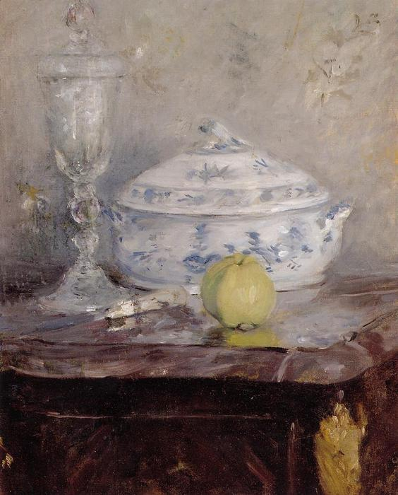 Tureen And Apple, 1877 by Berthe Morisot (1841-1895, France) | Museum Quality Reproductions | WahooArt.com