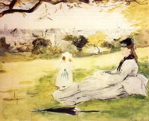 Berthe Morisot - Woman and Child Seated in a Meadow