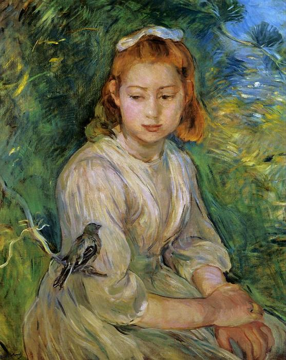 Young Girl with a Bird, Oil On Canvas by Berthe Morisot (1841-1895, France)