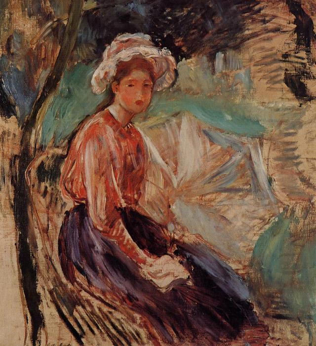 Young Girl with an Umbrella, 1893 by Berthe Morisot (1841-1895, France) | Oil Painting | WahooArt.com
