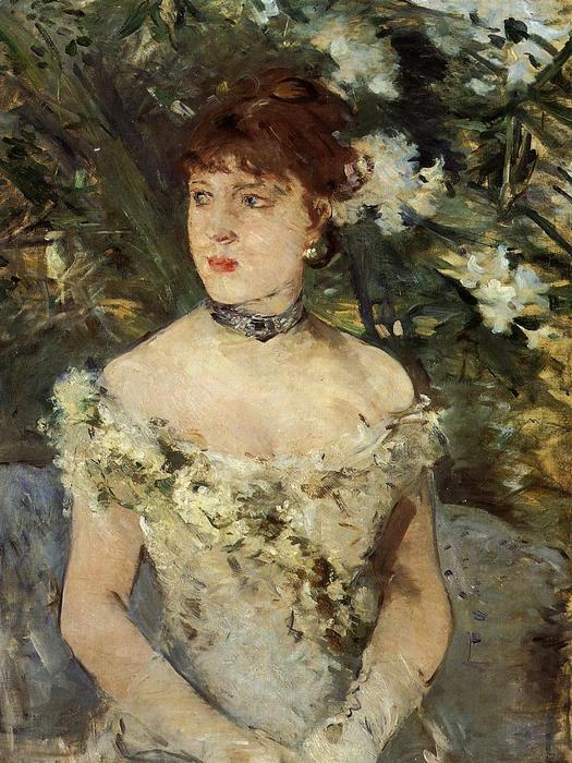 Young Woman Dressed for the Ball, Oil On Canvas by Berthe Morisot (1841-1895, France)