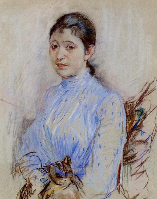 Young Woman in a Blue Blouse, 1889 by Berthe Morisot (1841-1895, France) | Museum Quality Reproductions | WahooArt.com