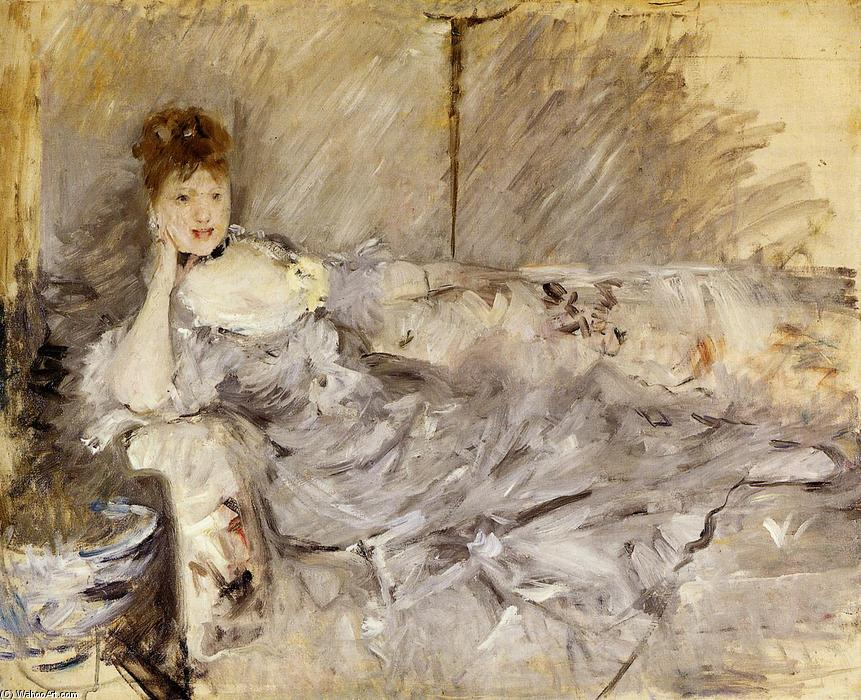 Young Woman in Grey Reclining, Oil On Canvas by Berthe Morisot (1841-1895, France)