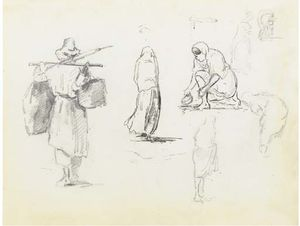 Camille Pissarro - A man carrying two bags on a pole across his shoulders, and studies of women