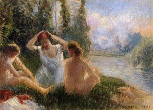 Camille Pissarro - Bathers Seated on the Banks of a River