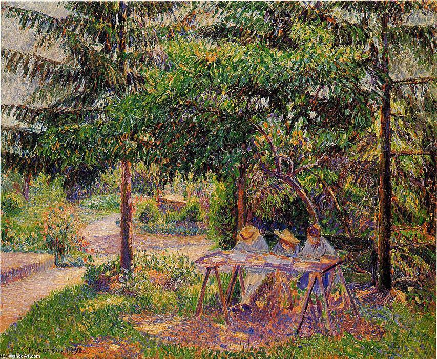 Children in a Garden at Eragny, 1897 by Camille Pissarro (1830-1903, United States) | Painting Copy | WahooArt.com