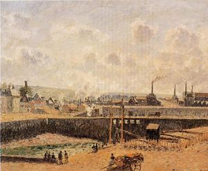 Camille Pissarro - Dieppe, Dunquesne Basin, Low Tide, Sun, Morning