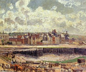 Camille Pissarro - Dieppe, Dunquesne Basin, Sunlight Effect, Morning, Low Tide