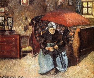 Camille Pissarro - Elderly Woman Mending Old Clothes, Moret