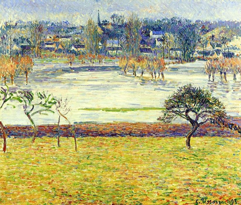 Flood, White Effect, Eragny, Oil On Canvas by Camille Pissarro (1830-1903, United States)