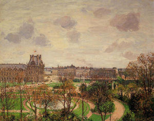 Camille Pissarro - Garden of the Louvre Morning, Grey Weather