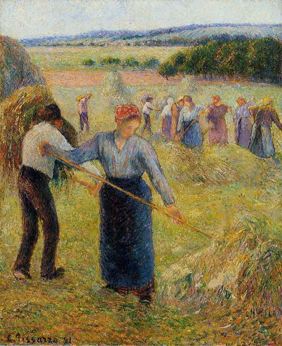 Haymaking at Eragny, Oil On Canvas by Camille Pissarro (1830-1903, United States)