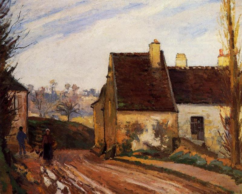 Buy Museum Art Reproductions | Homes near the Osny, 1872 by Camille Pissarro (1830-1903, United States) | WahooArt.com
