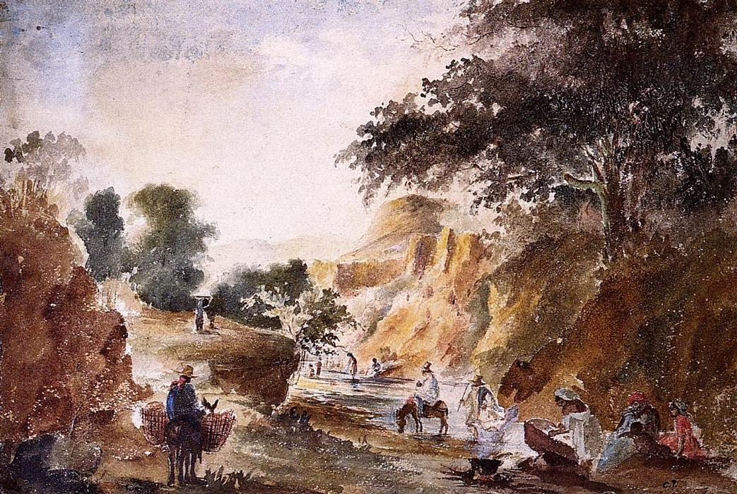 Landscape with Figures by a River, Watercolour by Camille Pissarro (1830-1903, United States)