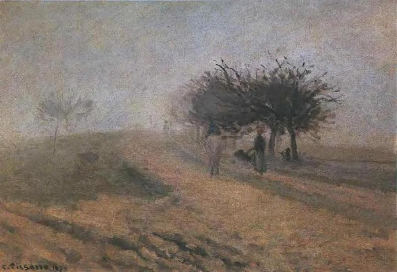 Misty Morning at Creil, 1873 by Camille Pissarro (1830-1903, United States) | Paintings Reproductions Camille Pissarro | WahooArt.com