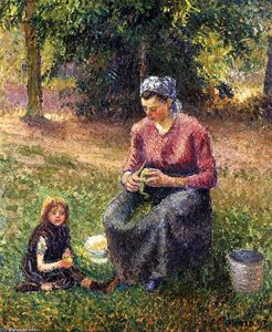 Camille Pissarro - Peasant Woman and Child, Eragny