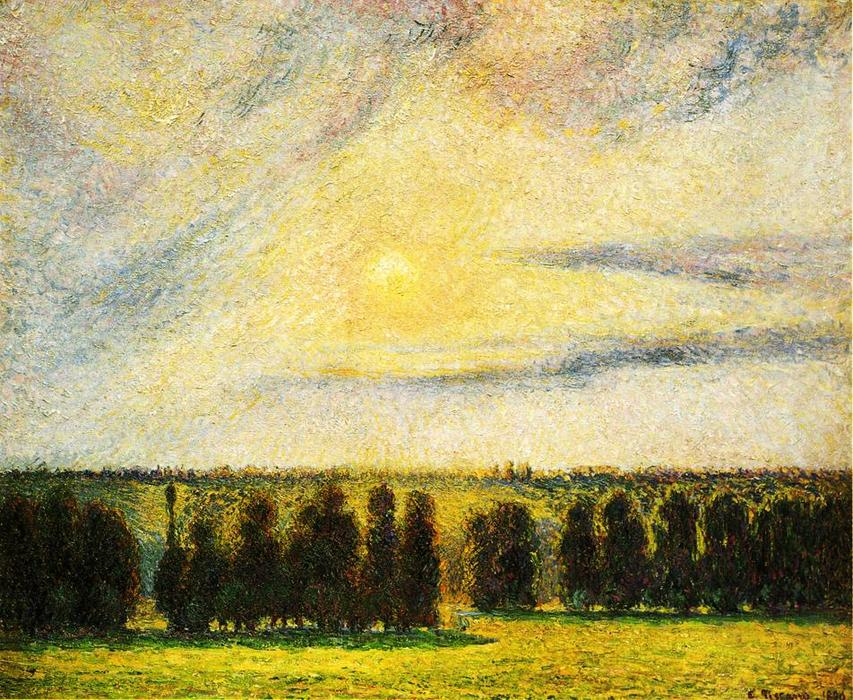 Sunset at Eragny, 1890 by Camille Pissarro (1830-1903, United States) | Reproductions Camille Pissarro | WahooArt.com