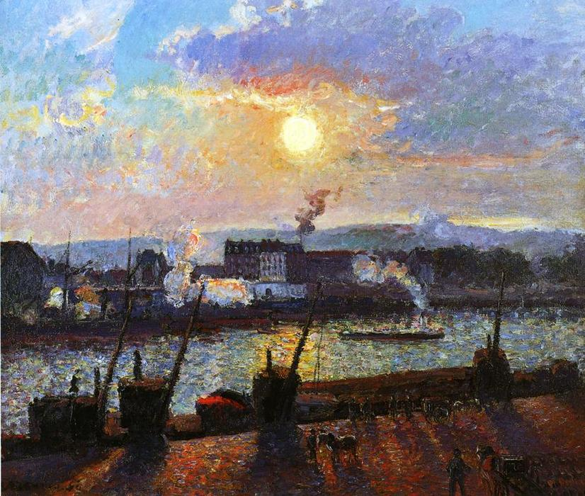 Sunset, Rouen, Oil On Canvas by Camille Pissarro (1830-1903, United States)