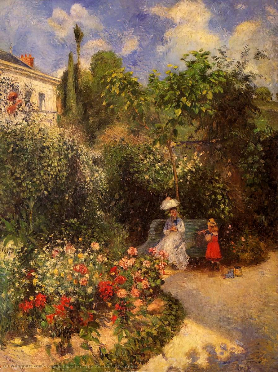 The Garden at Pontoise, 1877 by Camille Pissarro (1830-1903, United States) | Oil Painting | WahooArt.com
