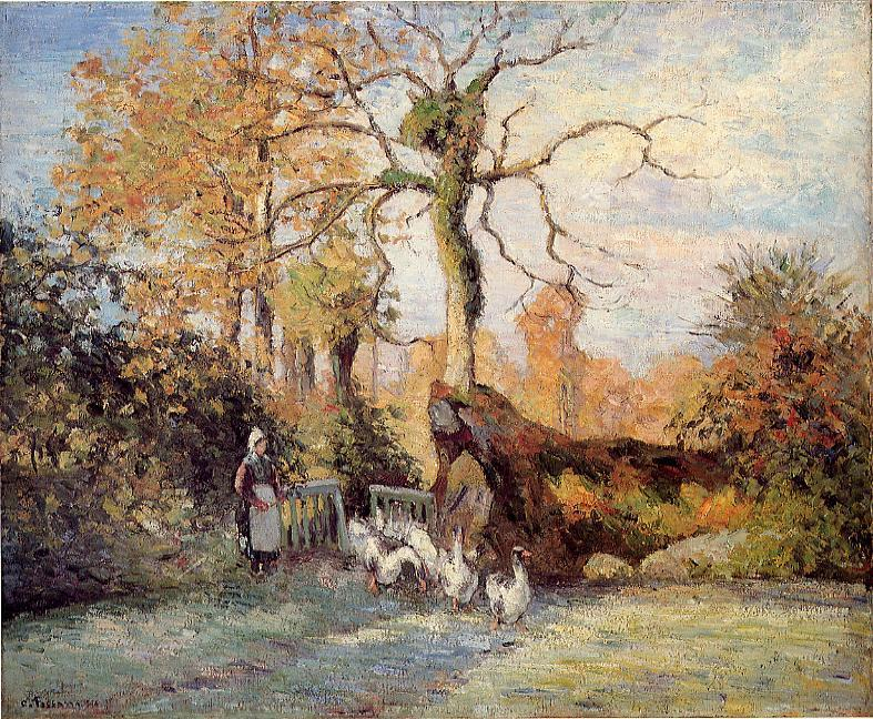 The Goose Girl at Montfoucault, White Frost, 1875 by Camille Pissarro (1830-1903, United States) | Paintings Reproductions Camille Pissarro | WahooArt.com